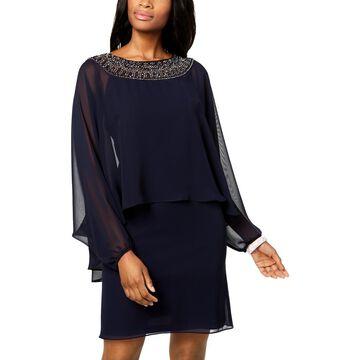Xscape Womens Chiffon Beaded Capelet Dress