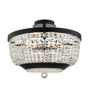 Allegri 037345052FR001 Six Light Semi Flush Mount Terzo Matte Black - One Size (One Size - Clear)