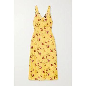 R13 - Printed Silk-trimmed Satin Midi Dress - Yellow
