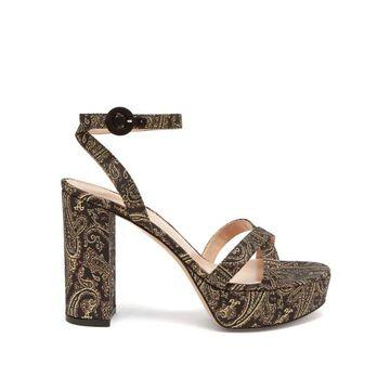 Gianvito Rossi - Poppy 70 Paisley-brocade Sandals - Womens - Gold