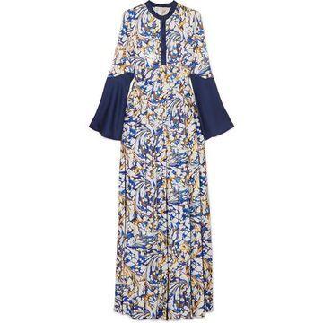 Mary Katrantzou - Desmine Pleated Printed Satin-twill Maxi Dress - Blue