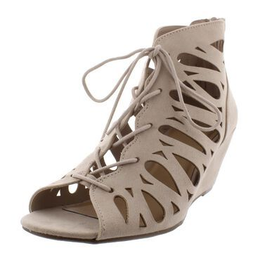 Material Girl Womens HARLIE Lace Up Heeled Gladiator Sandals
