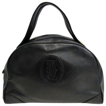 Vintage Cartier Black Leather Handbag