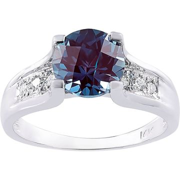 Oravo 14k White Gold 2.25 Carat Created Alexandrite 1/8ct TDW Diamond Accent Cathedral Ring