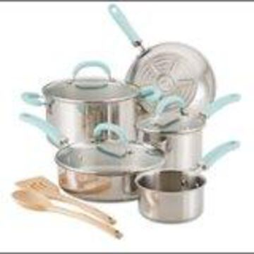 Rachael Ray - Create Delicious 10-Piece Cookware Set - Stainless Steel with Light Blue Handles
