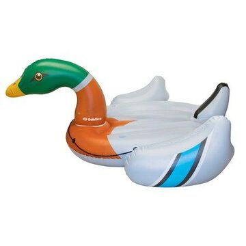 Swimline Giant Inflatable Ride On 131 Inch Swimming Pool Decoy Duck Island Float