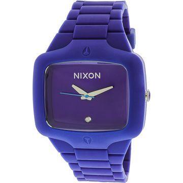 Nixon Men's A139-230 Rubber Player Rectangle Purple Strap Watch