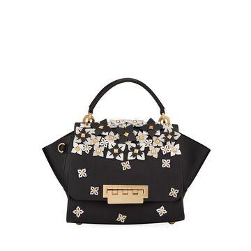 Eartha Top Handle Studded Floral Satchel Bag