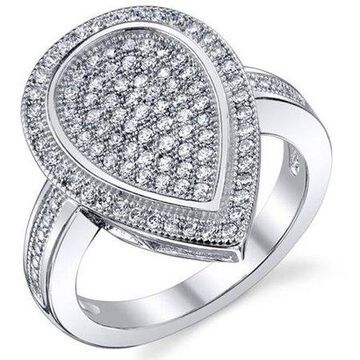 CZ Rhodium-Plated Sterling Silver Engagement Ring