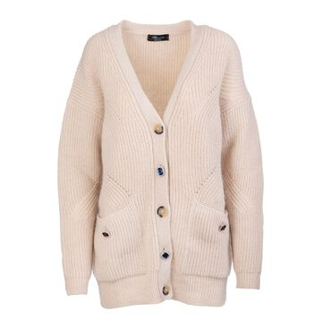 Beige Wool Cardigan With Jewel Buttons Blumarine