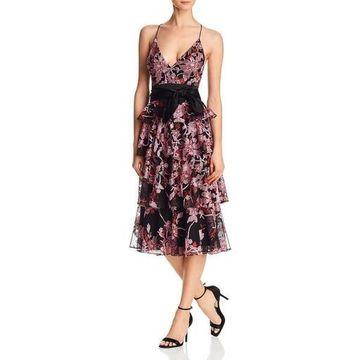 Aidan Mattox Womens Halter Tiered Midi Dress