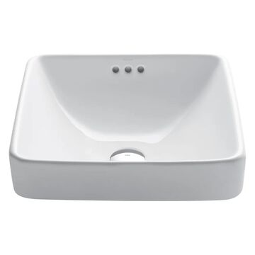 KRAUS Elavo Series Square Ceramic Semi-Recessed Bathroom Sink