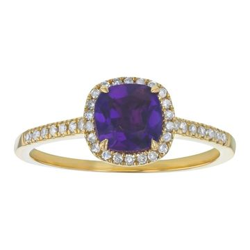 10k Yellow Gold 1 1/10ct. Diamonds and Cushion Amethyst Halo Ring by Beverly Hills Charm