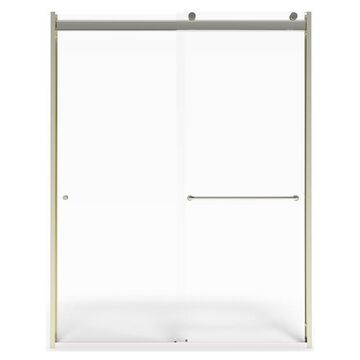 American Standard 76-in H x 44-in to 48-in W Semi-Frameless Sliding Brushed Nickel Shower Door (Clear Glass)   AM00810400.006