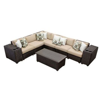 TK Classics Venice 9-Piece Outdoor Wicker Sofa Set, Wheat