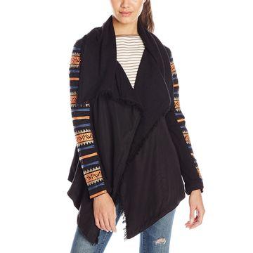 Rip Curl Women Black Size Large L Ritual Drape French-Terry Knit Jacket