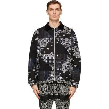Sacai Black and Navy Hank Willis Thomas Edition Archive Print Jacket