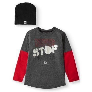 RBX Long Sleeve Hang Down Tee with Beannie, 2-Piece Outfit Set (Little Boys & Big Boys)
