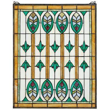 Design Toscano Elmslie Arts and Crafts StainedGlass Window