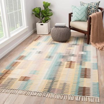 Afton Turquoise/Yellow Indoor/Outdoor Abstract Area Rug - 7'10