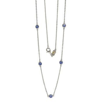 Suzy Levian Silver Diamond & Sapphire Station Necklace