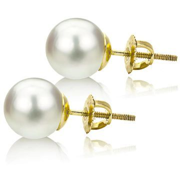 DaVonna 14k Gold White 11-12mm South Sea Pearl Stud Earrings with Gift Box - White/Yellow (White/Yellow - 11-11.5 MM - White - Yellow)