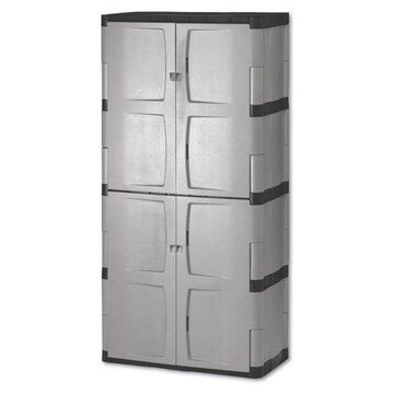 Rubbermaid Double-Door Storage Cabinet - Base/Top, 36w x 18d x 72h, Gray/Black