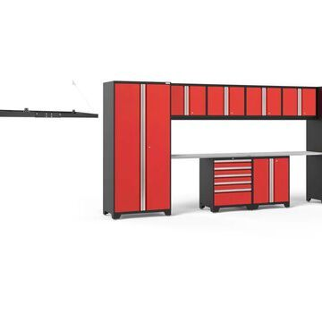 NewAge Products Pro Series 184-in W x 85.25-in H Deep Red Steel Garage Storage System Stainless Steel | 54325