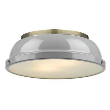 Golden Lighting Duncan 14-in Aged Brass Flush Mount Light   3602-14 AB-GY