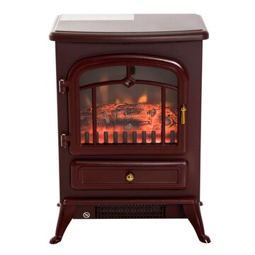 HomCom 16 1500W Free Standing Electric Wood Stove Fireplace Heater (Red)