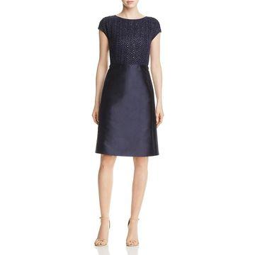 Lafayette 148 New York Womens Hillany Silk Metallic Evening Dress