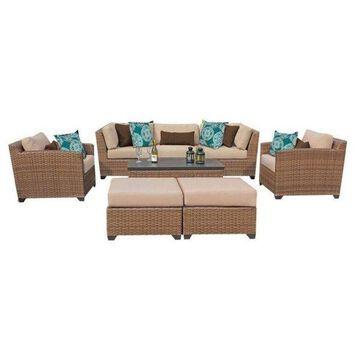 TK Classics Laguna 8-Piece Outdoor Wicker Sofa Set, Wheat