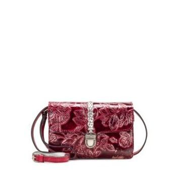 Patricia Nash Bark Leaves Bianco Leather Crossbody
