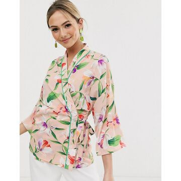 Liquorish wrap blouse with contrast piping in floral-Multi