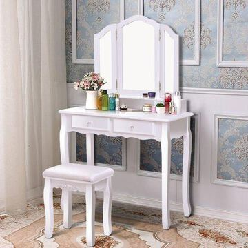 White Tri Folding Mirror Vanity Makeup Table Stool Set Home Desk With 4 Drawers