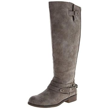 Madden Girl Womens Caanyon Faux Leather Chain Trim Riding Boots