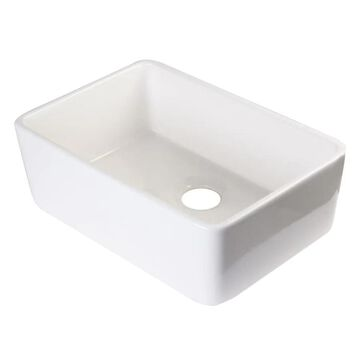 ALFI brand Farmhouse Apron Front 23.38-in x 16.13-in Biscuit Single Bowl Kitchen Sink in Off-White | AB503-B