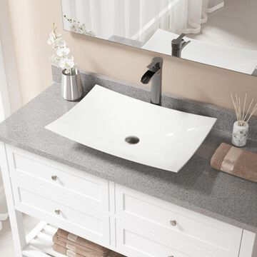 MR Direct Bisque Porcelain Vessel Rectangular Bathroom Sink with Faucet (Drain Included) (23.5-in x 15.75-in) in Off-White | V360-B-731-ABR