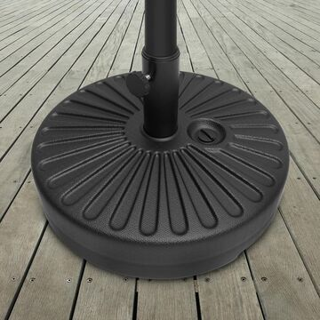 Weighted Round Patio Umbrella Base by Pure Garden - 20 x 20 x 11 (50-75 lbs - Black - 20 x 20 x 11 - Plastic/Steel)