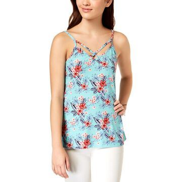 Ultra Flirt Womens Juniors Strappy Floral Tank Top