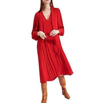 Barbara Bui Pleated Silk Double Georgette Midi Dress