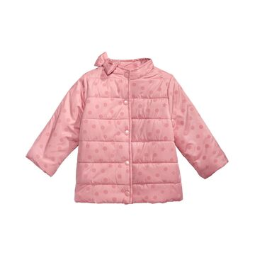 Toddler Girls Flocked Dot-Print Bow Jacket, Created For Macy's