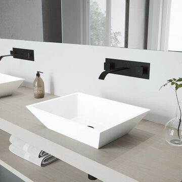 VIGO Vessel sink Matte White Matte Stone Vessel Rectangular Bathroom Sink with Faucet (Drain Included) (18-in x 13.75-in) | VGT997