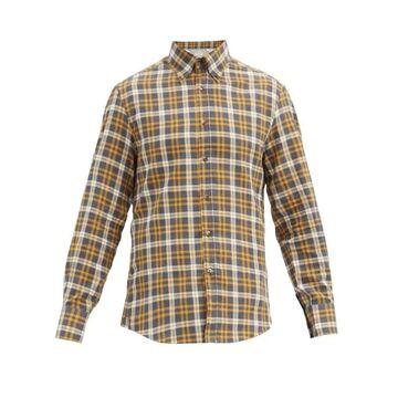 Brunello Cucinelli - Checked Button-down Collar Cotton Shirt - Mens - Yellow Multi