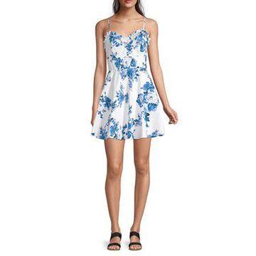 Trixxi-Juniors Spaghetti Strap Floral Fit & Flare Dress