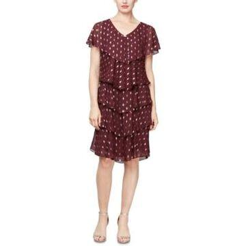 Sl Fashions Metallic-Print Tiered Shift Dress