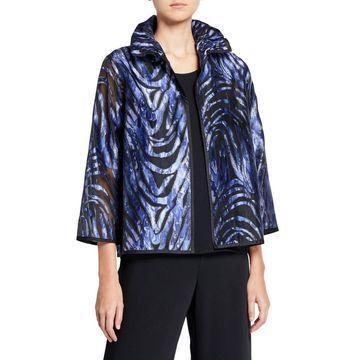 Plus Size Blue Wave Velvet Jacket w/ Ruched Collar