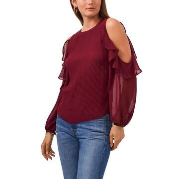 1.state Ruffle Long Sleeve Crew Neck Pleat Detail Top