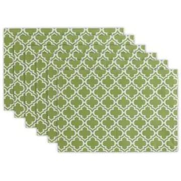 Design Imports Summer Stripe Polyester Outdoor Placemat Set (Set of 6) (Green Lattice)