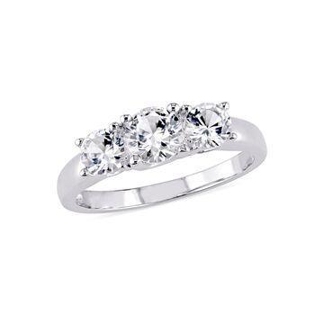 Modern Bride Gemstone Womens Lab Created White Sapphire 10K White Gold 3-Stone Engagement Ring